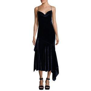 Milly Panne Velvet Lienne dress in Navy